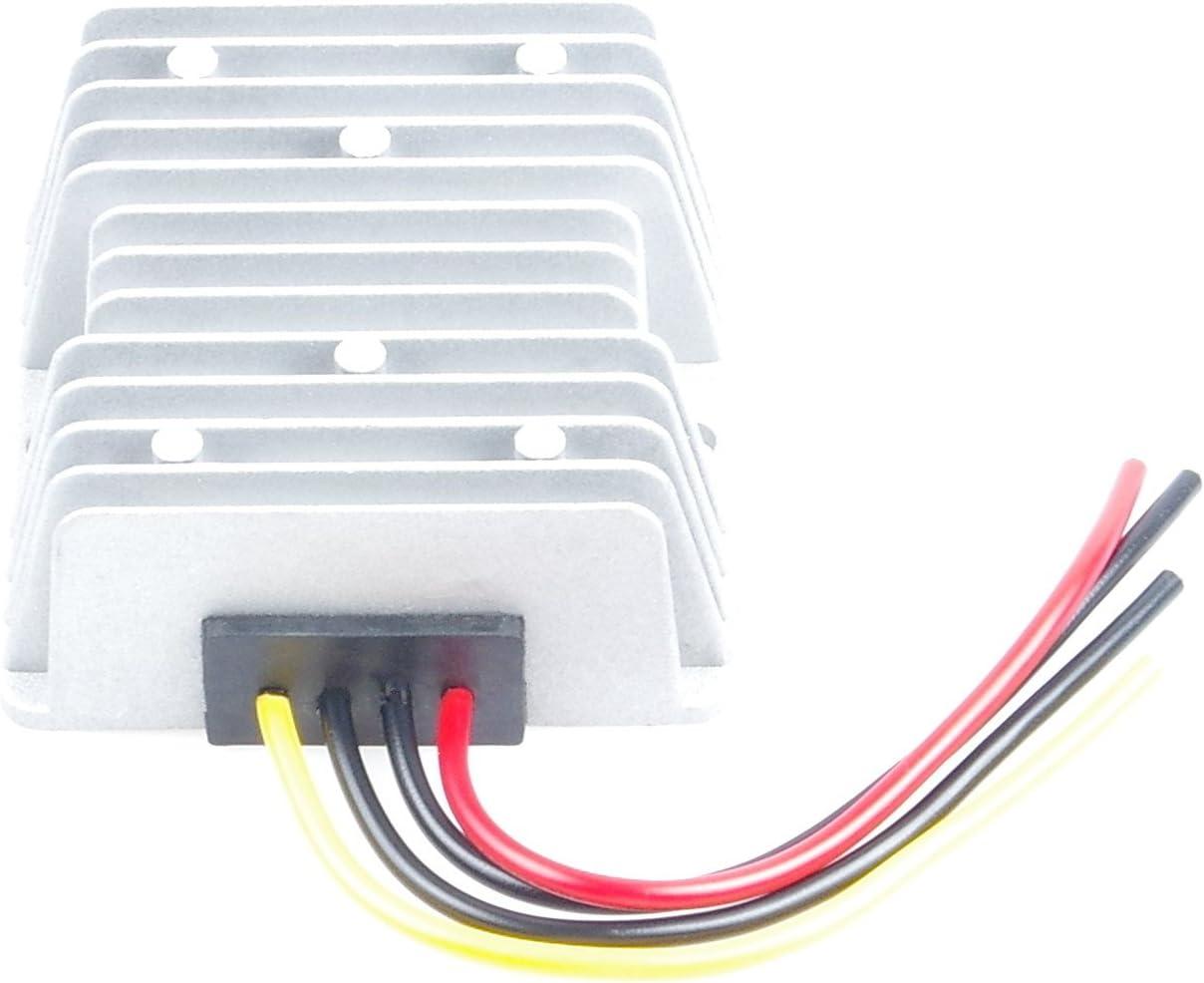 KNACRO 24V 36V 48V 60V (20-72V) To 12V DC-DC Waterproof Boost Converter Automatic Step Down Voltage Regulator Module Car Power Supply Voltage Transformer With 4 Wires (IN DC 60V (20-75V), OUT 12V 15A)