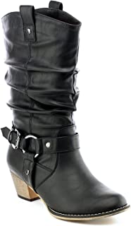 Women's Mid Calf Cowboy Boots Distressed Slouchy O-Ring Studded Pull on Block Heel Riding Boots