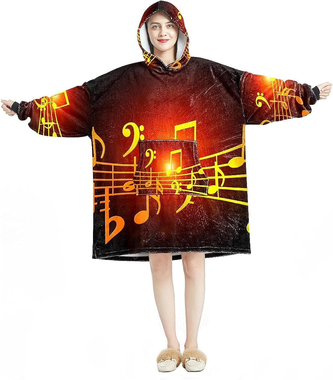 Oversized Over item handling ☆ Hooded Blanket Sweatshirt Music Wearabl Soft Ranking TOP4 Clef Warm