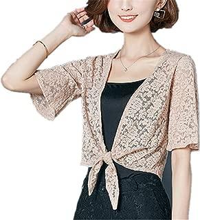 WENYIFANG Women Summer Blouse Beach Lace Kimono Cardigan See Through Plus Size Shirt Ladies Top