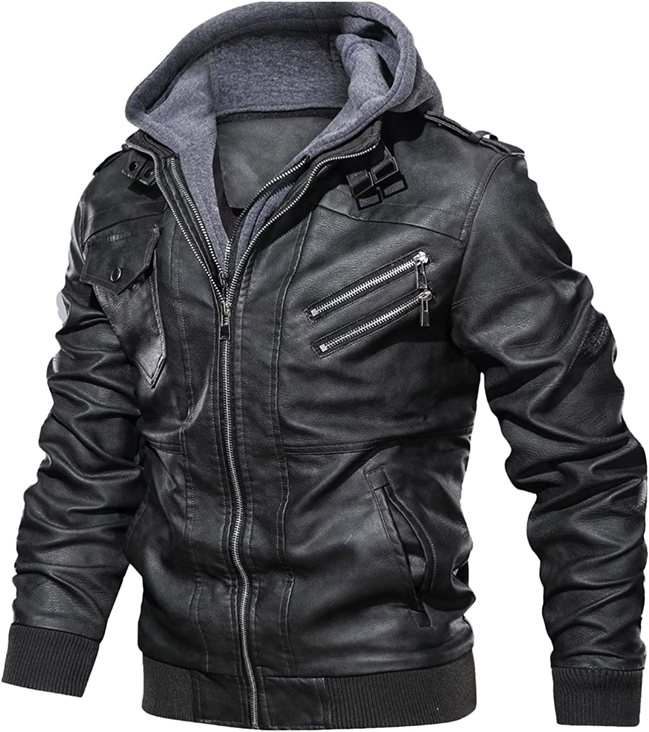 OutTop Men's Faux Leather Jacket Motorcycle Coats Windproof Moto Outerwear Vintage Bomber Hoodie with Removable Hood