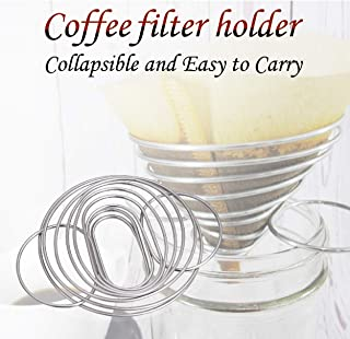 SHOUDU Collapsible 306 Stainless Steel Pour Over Coffee Dripper Filter Holder, 1-2 Cups, Apply to Various Cups and Mugs Use for Travel, Camping, Office, and Family, Reusable Coffee Cone Filter