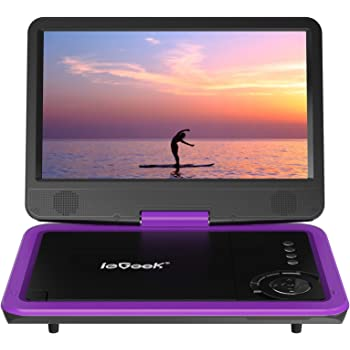 """ieGeek 12.5"""" Portable DVD Player, Car Travel DVD Players with 5 Hrs Rechargeable Battery, Region-Free Video Player with HD Swivel Screen for Kids Elderly, Remote Control, Sync TV, USB&SD (Purple)"""