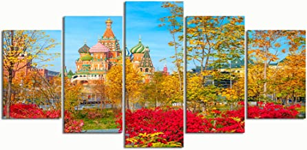 PENGTU Paintings Modern Canvas Painting Wall Art Pictures 5 Pieces, st basils Cathedral on red Square,Wall Decor HD Printed Posters Frame