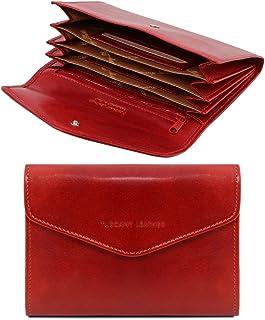 Tuscany Leather Esclusivo portafogli in pelle da donna con soffietti Rosso