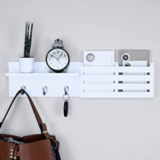 """Ballucci Mail Holder and Coat Key Rack Wall Shelf with 3 Hooks, 24"""" x 6"""", White"""