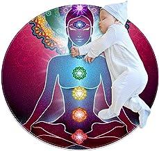 Yoga lotus position chakra-ljus, barn rund matta polyester överkast matta mjuk pedagogisk tvättbar matta barnkammare tipi-...