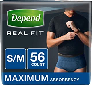 Depend Real Fit Incontinence Briefs for Men, Maximum Absorbency, Small/Medium, Blue, 56 Count