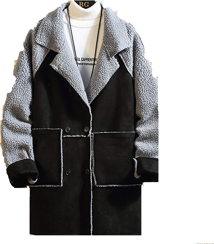 Men's Classic Vintage Sheepskin Jacket Faux Fur Fleece Lining Shearling Thicken Winter Parka Warm Coat Outwear
