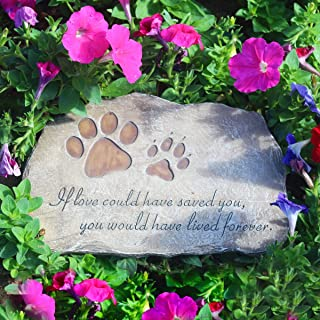BJSM Dog paw Pet Memorial Stone, Stepping Stone, Outdoor Garden Loss of Pet Gift 11 x 0.6 x 7.5 inches