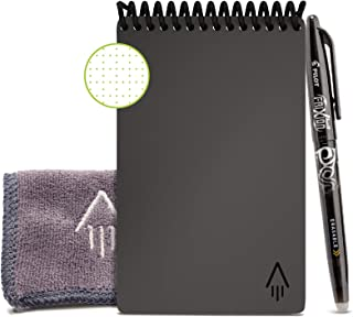 Rocketbook Smart Reusable Notebook - Dot-Grid Eco-Friendly Notebook with 1 Pilot Frixion Pen & 1 Microfiber Cloth Included - Deep Space Gray Cover, Mini Size (3.5