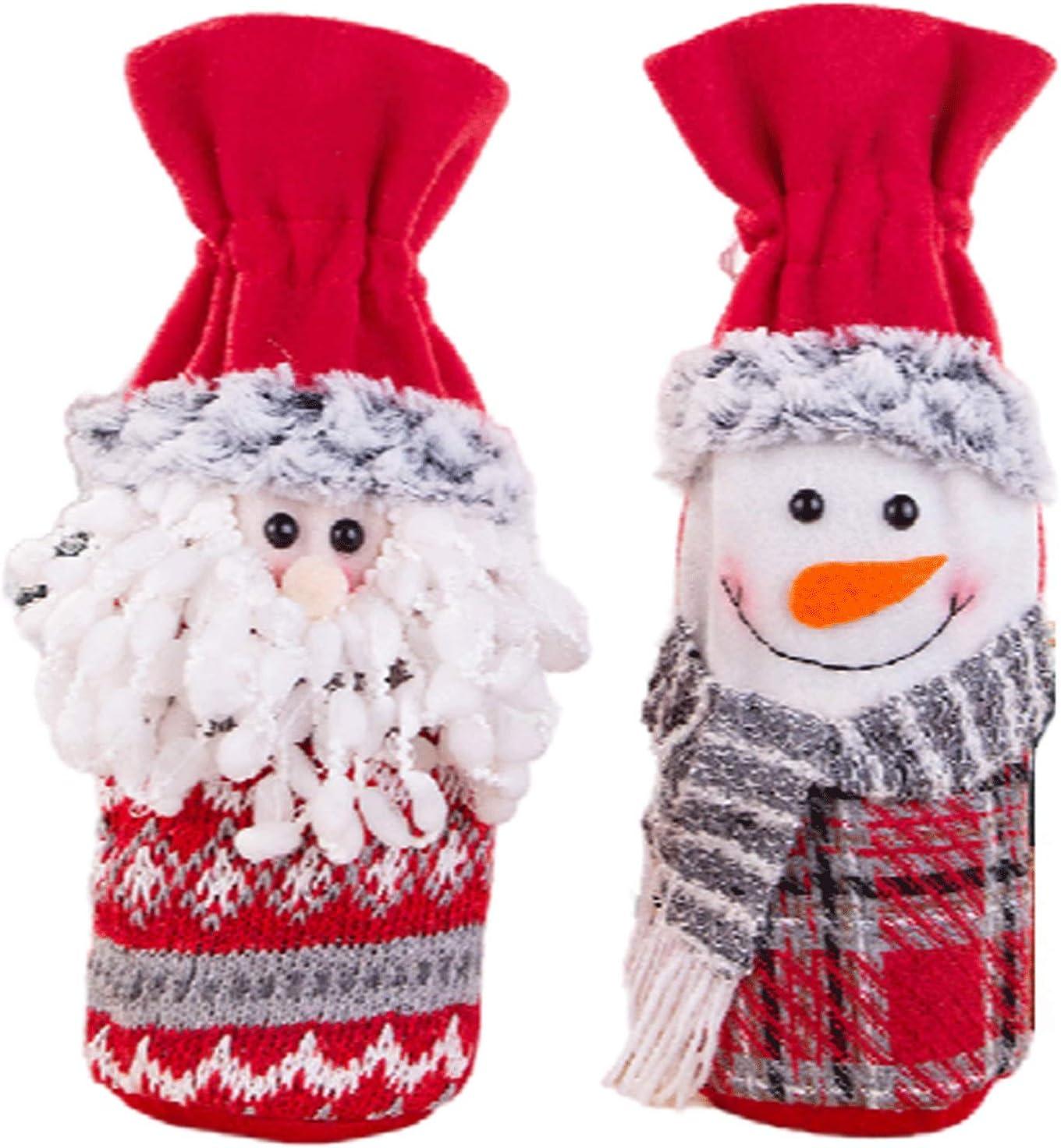 Conjuntos de accesorios de vino Botella de vino de Navidad Cubierta - Santa Claus muñeco de nieve de 2 piezas feo suéter botella de vino Conjunto de punto de la cubierta for la decoración de Navidad B