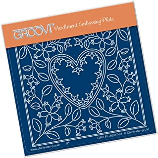 Groovi Parchment Embossing Plate - Tina's Heart Flower Parchlet Plate - Laser Etched Acrylic for Parchment Craft