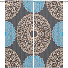 Tinmun 104 x 84 Inch Decorative Drapes Vintage Rapport Ethnic Pattern Round Zentangles Abstract Oriental Mandala 2 Panels Window Curtains for Living Room Bedroom Printed