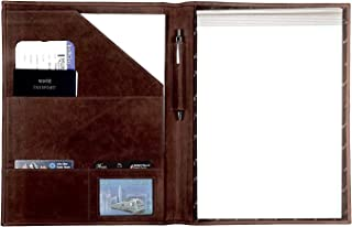 Handmade Leather Luxury Business Portfolio by Rustic Town | Professional Organizer Gift for Men & Women | Durable Leather Padfolio 3 + 1 Sleeves for documents and Notepad (Dark Brown)