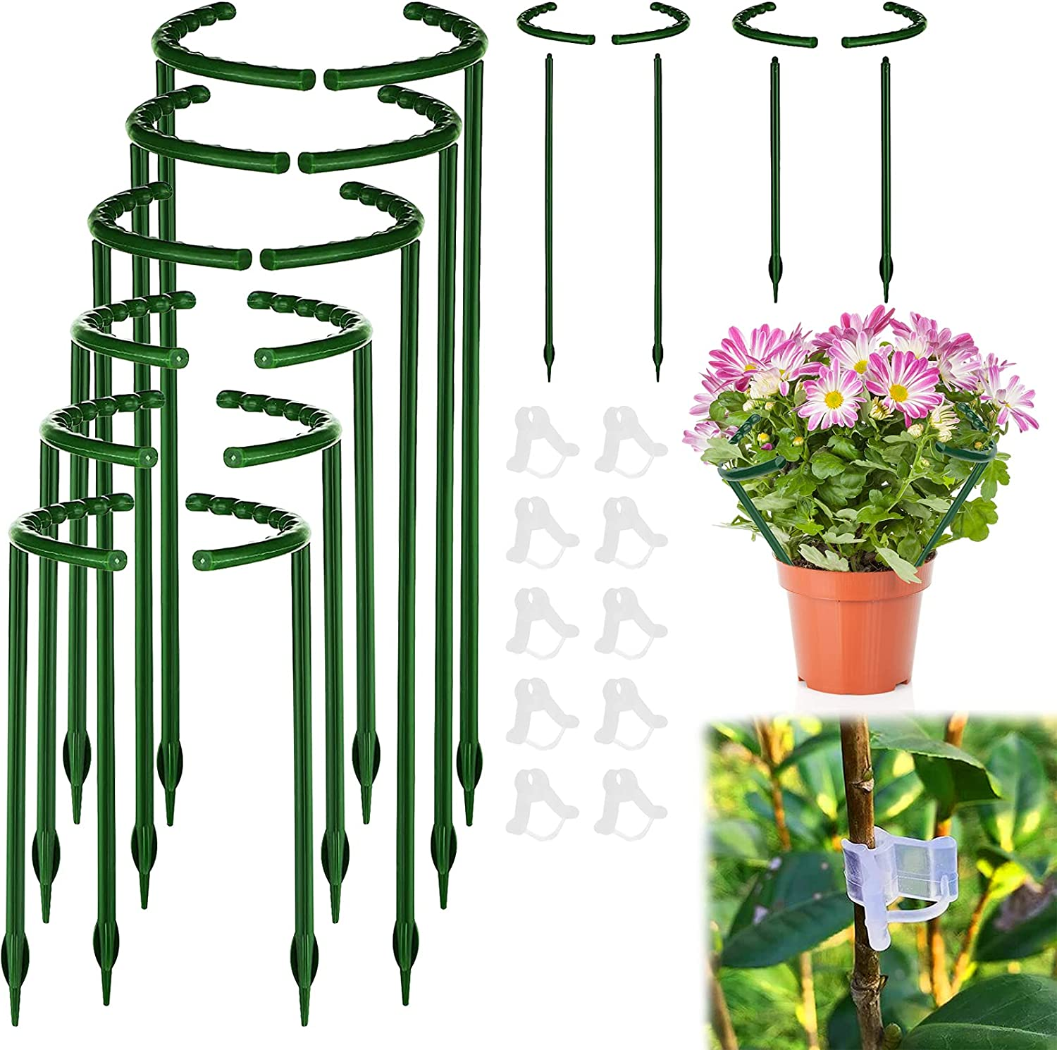 Broadsheet 12 Pack Plant Support Stakes, Half Round Plant Support Ring and 10 Plant Clips, Garden Flower Plant Cage Holder Outdoor Plant Support Stake for Peony, Rose Vegetable, Hydrangea, Vine