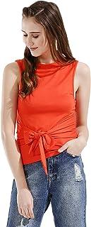 Koovs Orange Round Neck Tank Top For Women