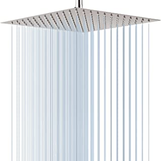 GGStudy Square16 Inch Square Stainless Steel Shower Head Rainfall Large Shower Head Brushed Nickel