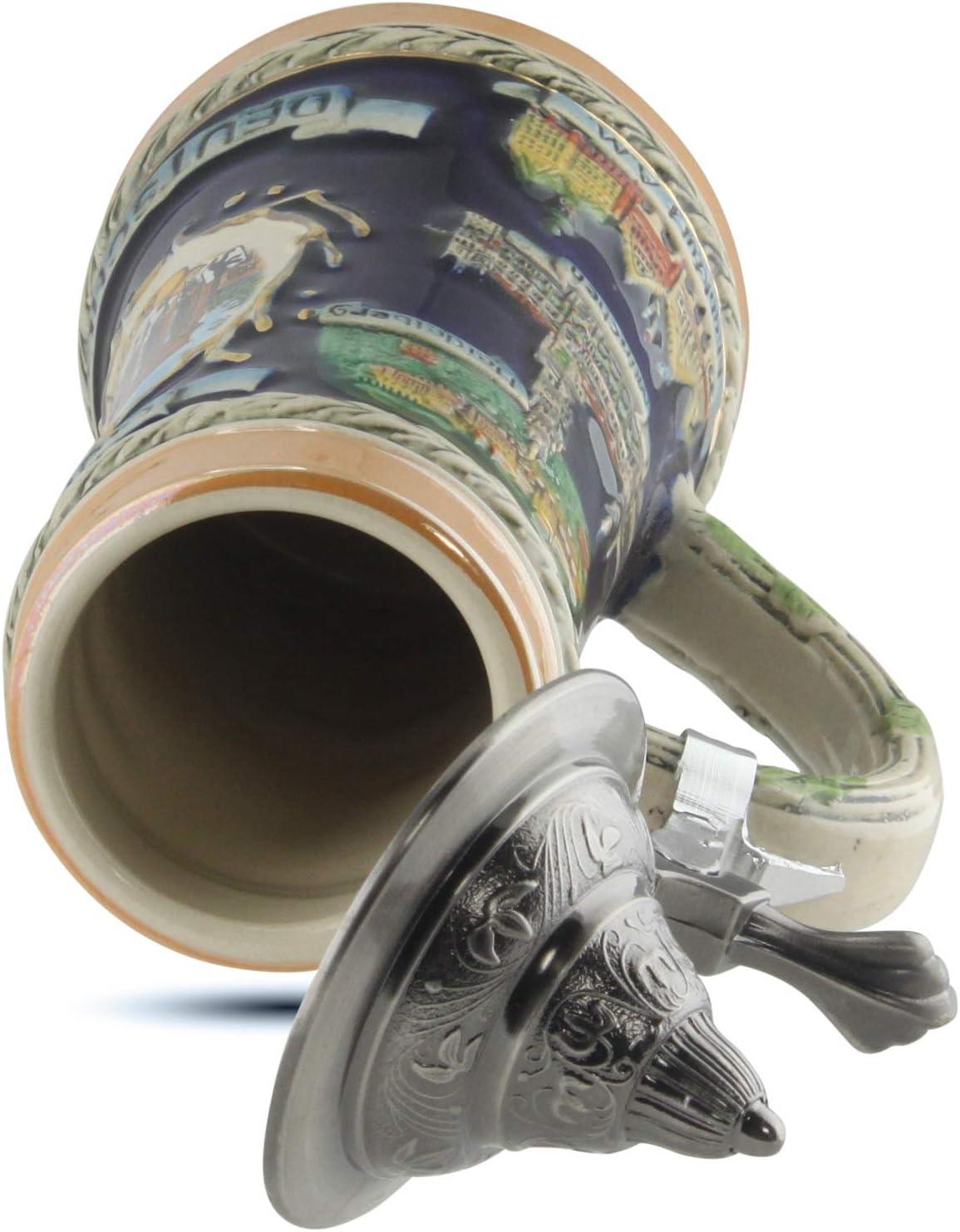 Chope en pierre de 0,25 litre Chope de bi/ère Cadeau pour hommes Chope de bi/ère Allemagne avec couvercle