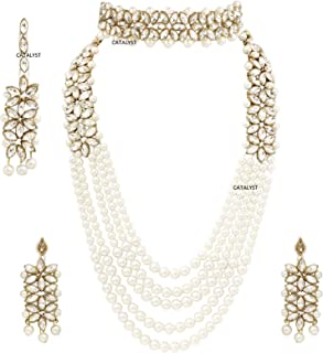 f17d19d659 CATALYST Traditional Designer Pearl Necklace Set with Choker Set,Earrings &  Mang Tikka for Women