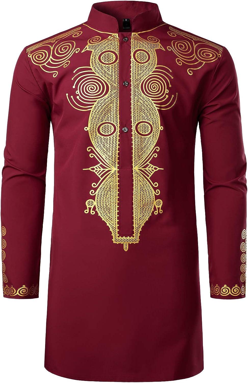 LucMatton Men's African Traditional Dashiki Luxury Metallic Gold Printed Mid Long Wedding Shirt