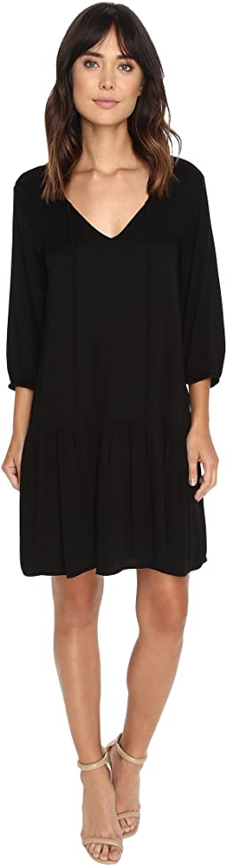 Romy Rayon 3/4 Sleeve Drop Waist Dress