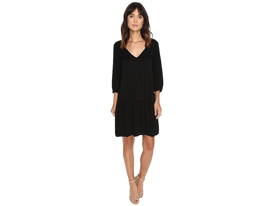 Michael Stars Romy Rayon 3/4 Sleeve Drop Waist Dress (Black) Women
