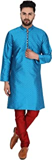 SKAVIJ Men's Art Silk Kurta Pajama Set Indian Clothing Dress