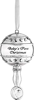 Klikel Babys First Christmas Ornament 2019 | Silver Rattle Ornament | Nickel Plated Metal