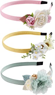 cherrboll Glitter Flower Girls Headbands Sweet Satin Covered Floral Hairband for Children Toddler Hair Accessories Pack of 3