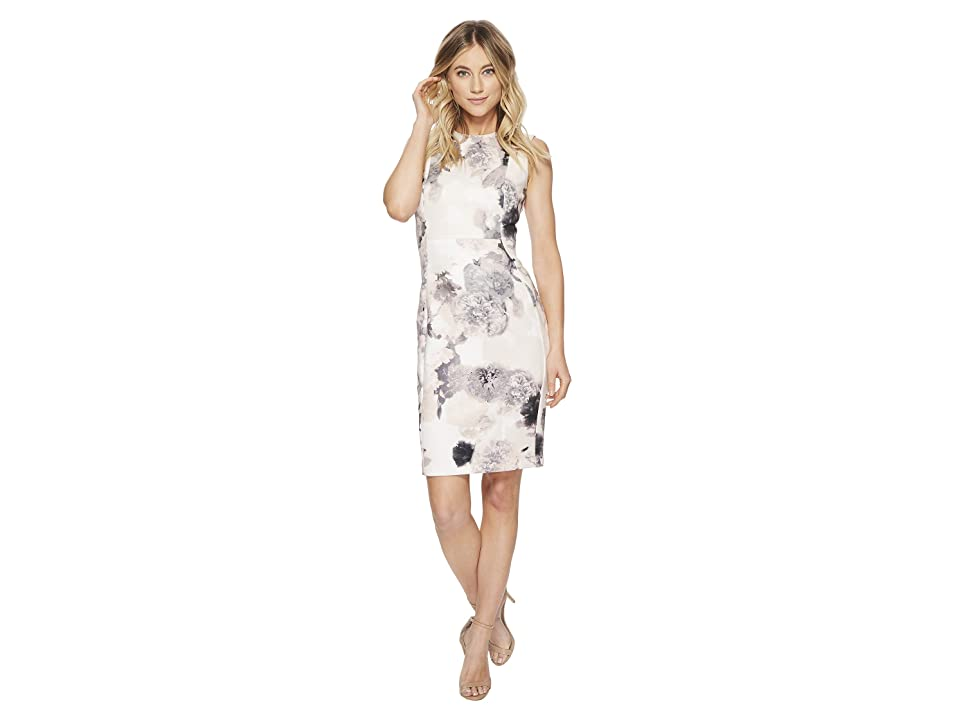 Calvin Klein Floral Sheath Scuba Sheath CD8MP83X (Blush Multi) Women