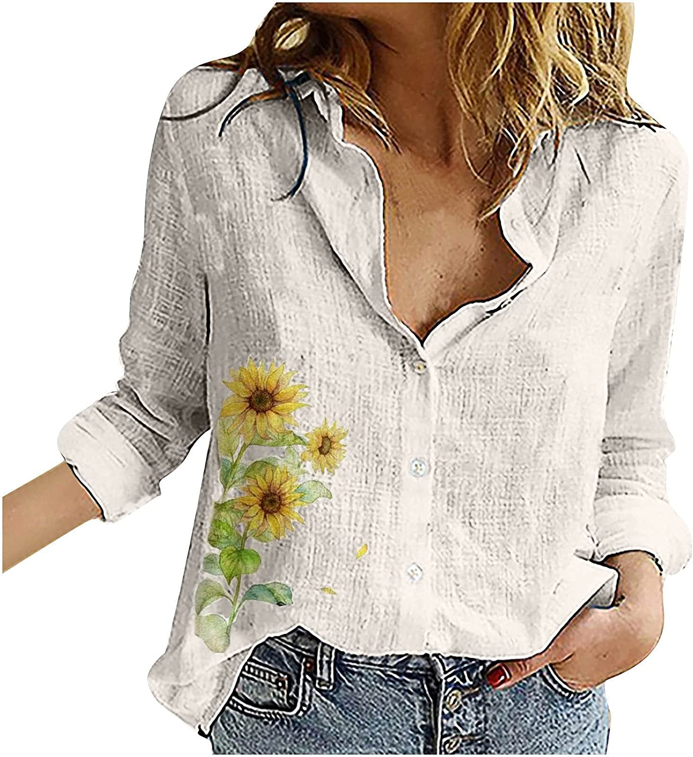 Fashion Women Loose Button Butterfly Print Lapel Long Sleeve T-Shirts Blouse Top Summer Tops Tee Shirts Blouse