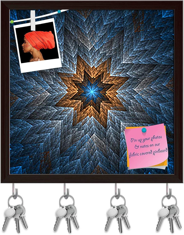 Artzfolio Spiral Artwork D2 Key Holder Hooks   Notice Pin Board   Dark Brown Frame 20 X 20Inch