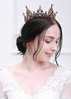 Kercisbeauty Vintage Baroque Baroco Dolce Full Round Tiara Crown with Rhinestone Beads,Flower Drop Earrings,Wedding Bridal Accessory,Halloween Party
