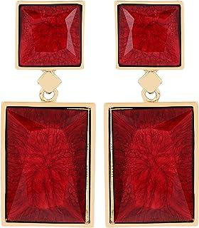 prita's Fancy Red Alloy and Nickel Finish Dangle Drop Earrings for Women