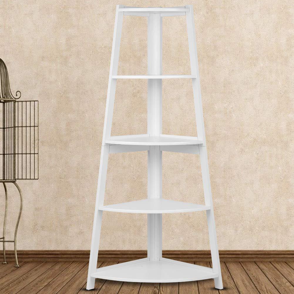 Estantería de 5 niveles para escalera, de madera, color blanco: Amazon.es: Hogar
