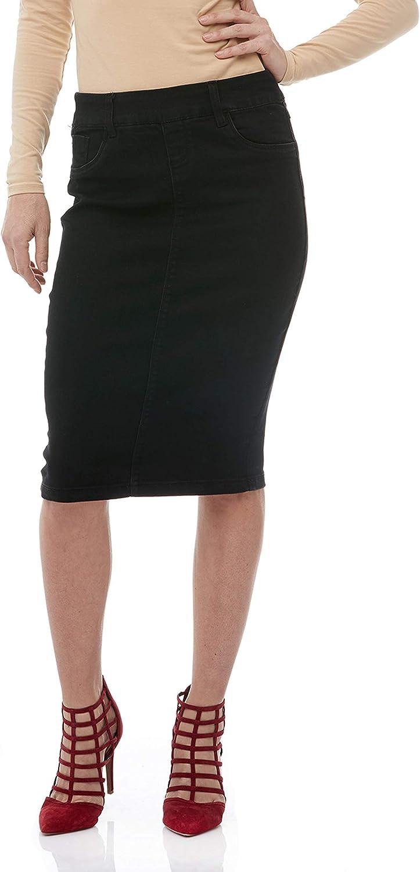 Esteez Women's Denim Pencil Skirt Stretch Jean Knee Length  Brooklyn