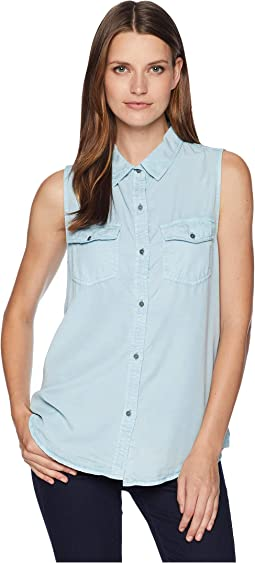 Luxe Laundered Tencel Sleeveless Two-Pocket Shirt