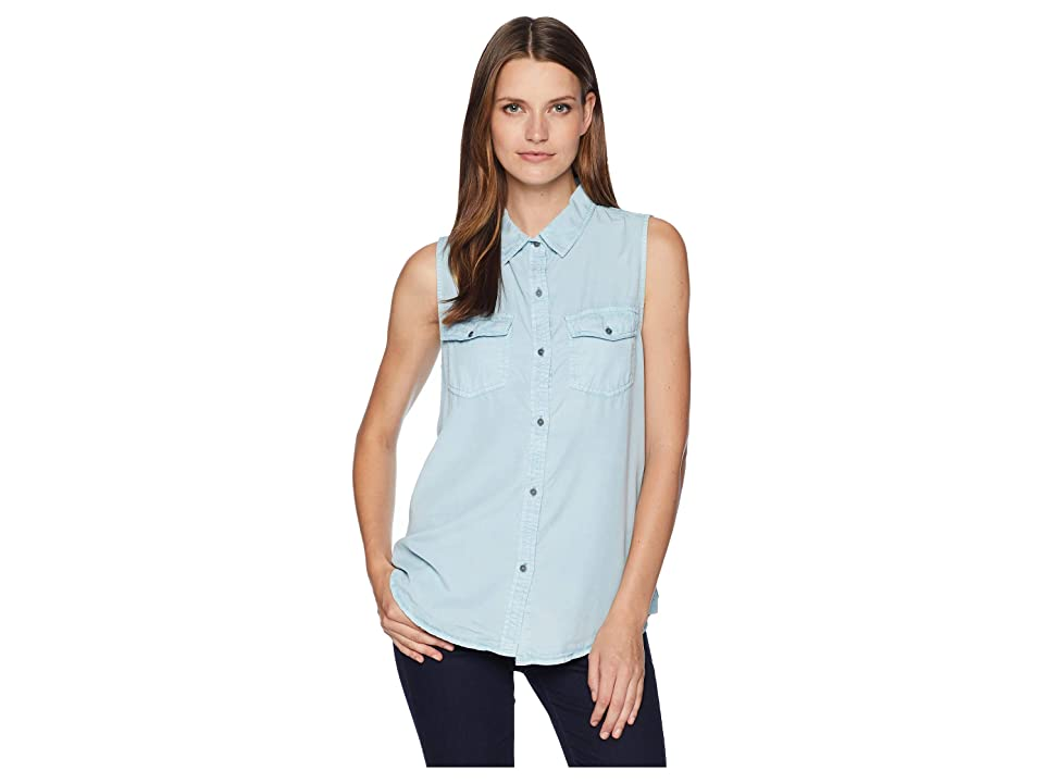 Dylan by True Grit Luxe Laundered Tencel Sleeveless Two-Pocket Shirt (Faded Denim) Women