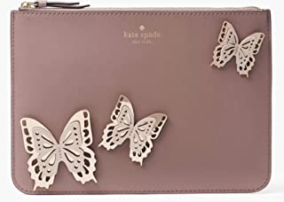 Kate Spade All the Buzz Butterfly Gia Leather Pouch Dusty Pink