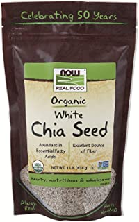 NOW Foods, Organic White Chia Seeds, Source of Essential Fatty Acids and Fiber, Certified Non-GMO, 1-Pound