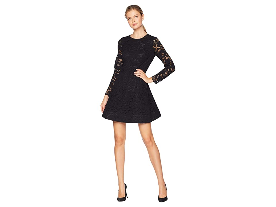 Laundry by Shelli Segal Lace Fit and Flare Dress (Black) Women