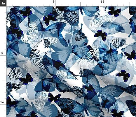Blue and White Butterfly Fleece tie Blanket