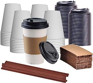 اكواب قهوة للاستعمال مرة واحدة مع اغطية وماسكات، اكواب قهوة للسفر سعة 12 اونصة، اكواب ورقية مانعة للتسرب للمشروبات الساخنة...