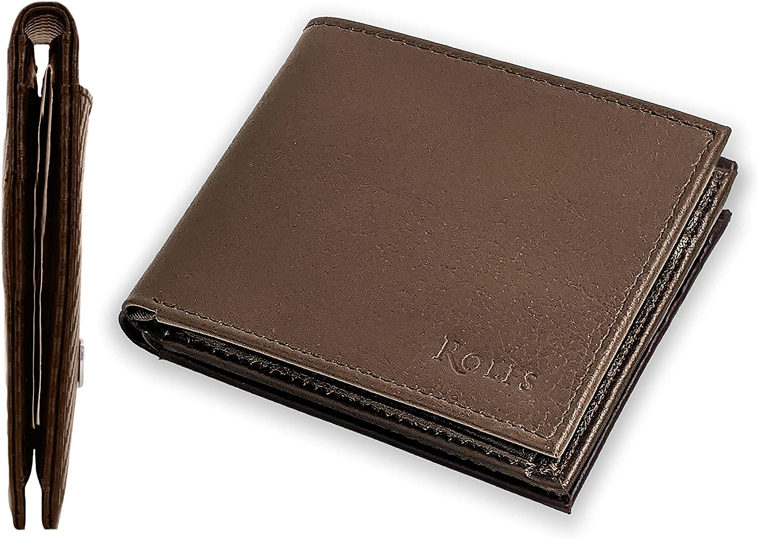 Rolfs Premium Leather Wallets for Men with Card Holder, Bifold Minimalist Wallet for Men;Slim Wallet in a Gift Box - Brown, Billfold with Coin Pocket