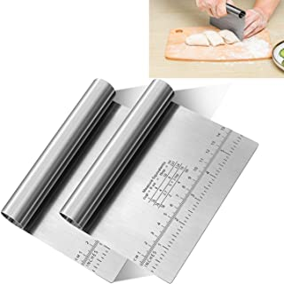 Pro Dough Pastry Scraper/Cutter/Chopper Stainless Steel Mirror Polished with Measuring Scale Multipurpose- Cake, Pizza Cut...