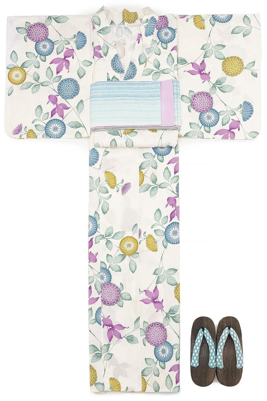 (ソウビエン) 浴衣 セット レディース 白系 オフホワイト 青 紫色 緑色 菊 花 金魚 レトロモダン 綿 半幅帯 マクレ ボヌールセゾン