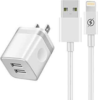 iVelltare Phone Charger 3ft Cable with Plug, 2 Port USB Wall Charger Adapter with 3 Feet Long Charging Cord Compatible with Phone 11/11 Pro/Xs/Xs Max/XR/X 8/7/6/6S Plus SE/5S, Pad, Pod(2 in 1)