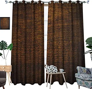 Warm Family Wooden Room Darkening Wide Curtains Old Vintage Antique Timber Oak Background Rustic Floor Artisan Photo Print Decor Curtains by W72 x L96 Chestnut and Brown
