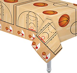 4 Pack Basketball Table Cover / Basketball Theme Tablecloth Party Supplies/ Ideal for Birthday Parties, Basketball Party